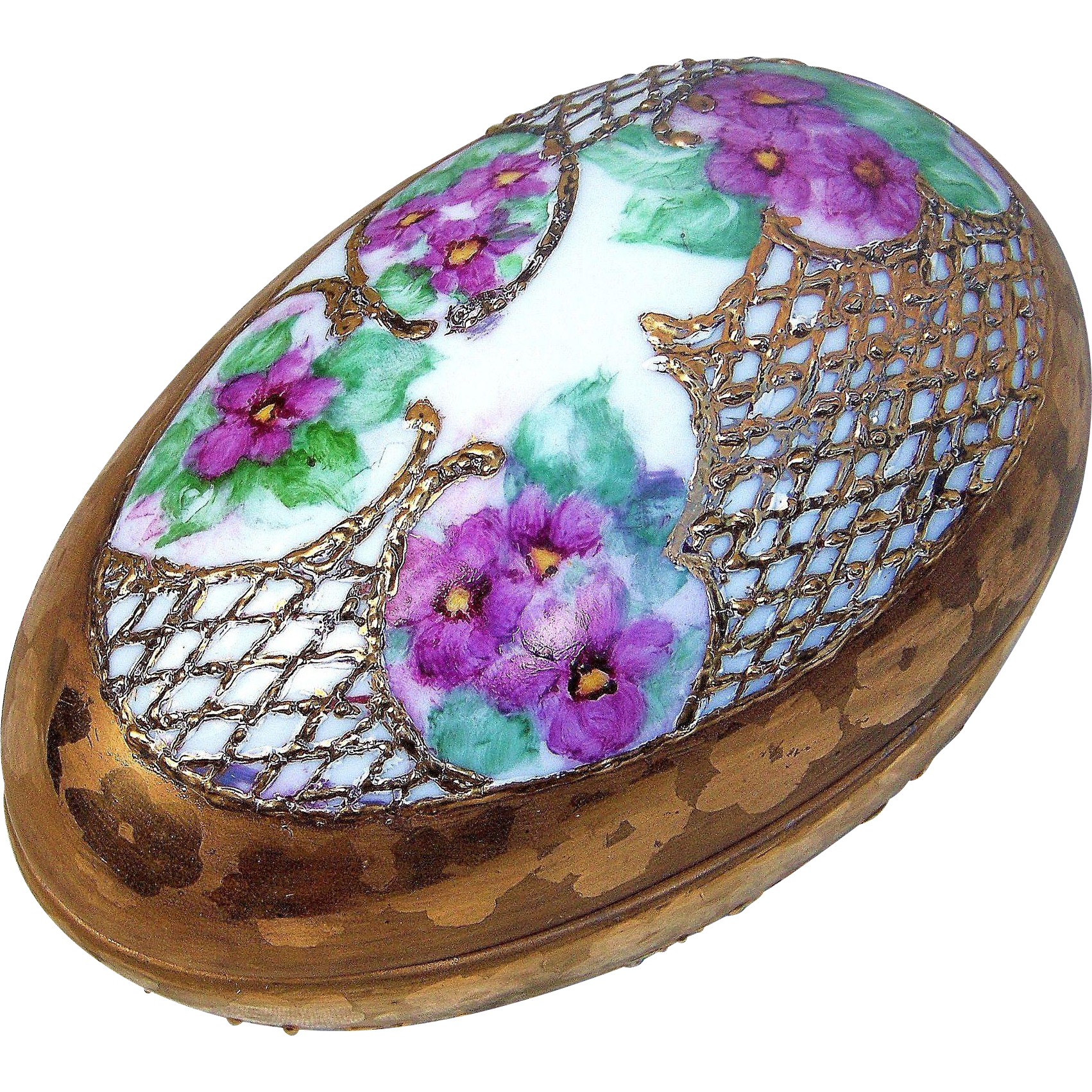 "Exquisite Bavaria 1900's Hand Painted ""Violets & Gold"" Egg Shape Floral Dresser Box"