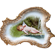 """Stunning Limoges France 1900's Hand Painted """"Sleeping Winged Cherub"""" 9-1/2"""" Fancy Scallop Scenic Tray"""