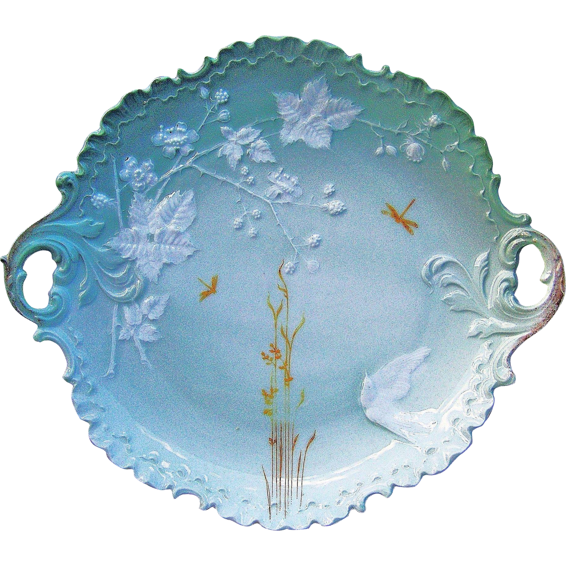 "Gorgeous Rosenthal Bavaria 1920's Pate Sur Pate ""White Love Bird & Dragon Flies"" 10-1/2"" Scallop & Crimp Plate"