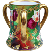"Fabulous T & V Limoges France 1900's Hand Painted Vibrant ""Red & White Roses"" 3-Handle Floral Love Cup by the Listed French Artist, ""Alfred Broussillon"""