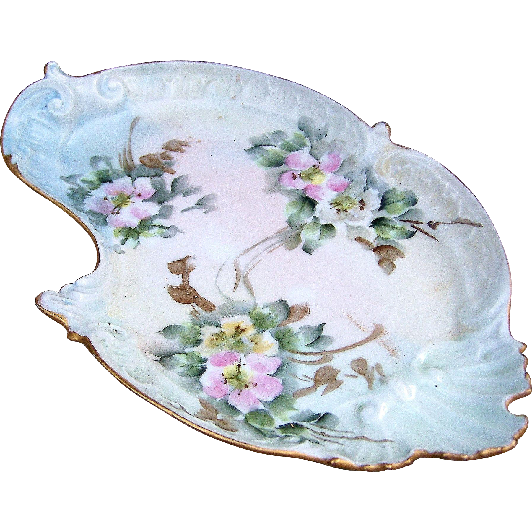 "Beautiful CA France Limoges 1900's Hand Painted ""Pink, Yellow, & White Pansies"" Fancy Scallop 8-3/8"" Floral Tray by the Artist, ""V.F."""