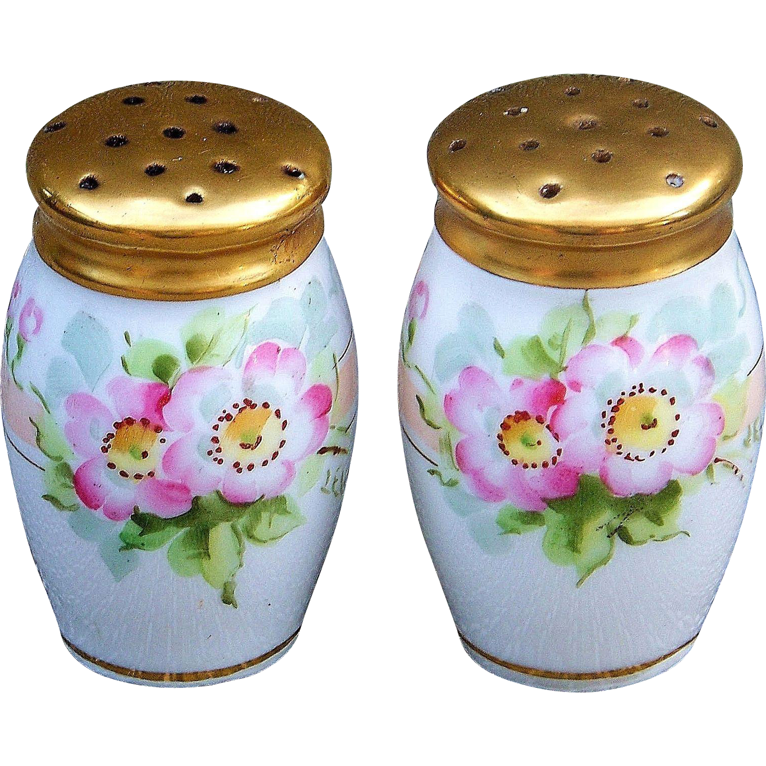 "Beautiful Bavaria 1900's Hand Painted ""Wild Pink Roses"" 3"" Salt & Pepper Floral Shakers by the Pickard Artist, ""Thomas Jelinek"""