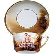 "Gorgeous RS Prussia 1900's Scarce Scenic ""Mother & Two Daughters"" Portrait Cup & Saucer"