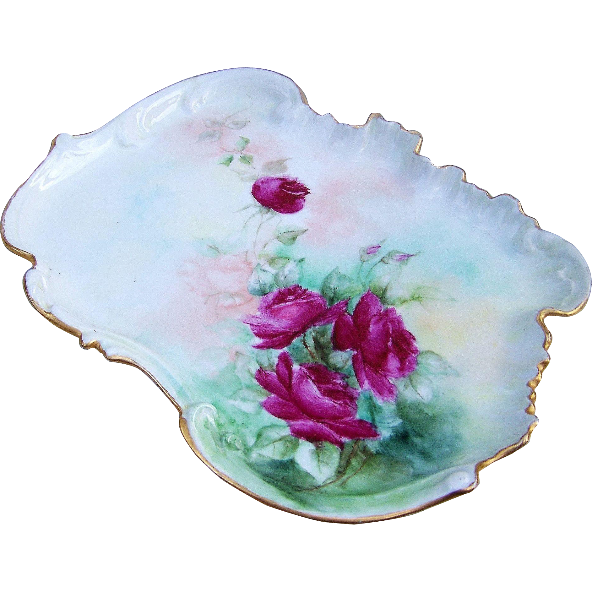 "Gorgeous Limoges France 1900's Hand Painted ""Deep Red Roses"" Scallop & Crimp 11-1/2"" Floral Tray"