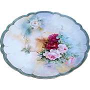 "Gorgeous Haviland CFH GDM 1900's Hand Painted ""Red, Pink, & White Roses"" 11-3/8"" Floral Charger"