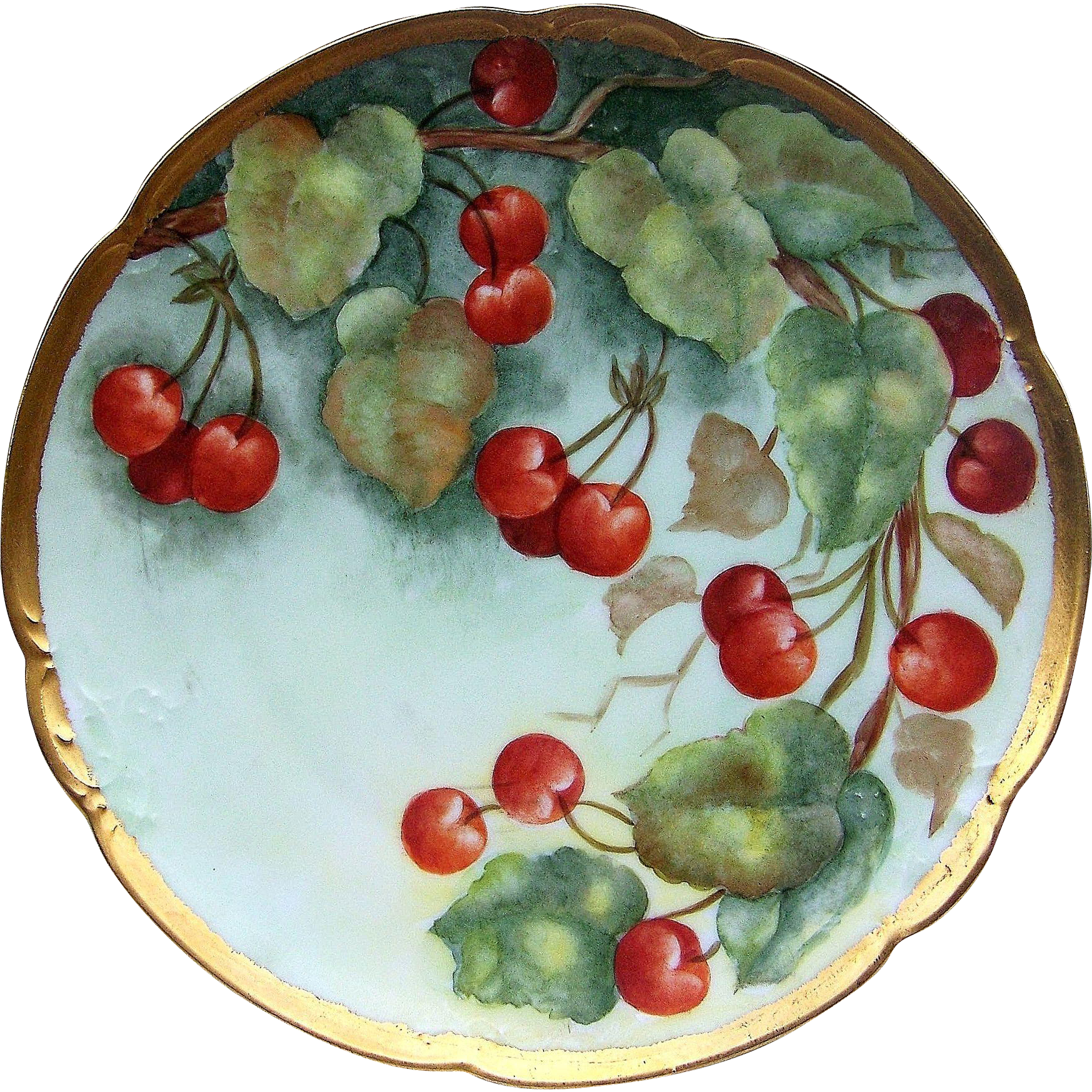 "Beautiful Bavaria 1900's Hand Painted ""Red Grapes"" 9-1/2"" Plate by the Artist, ""Emily Hiestand"""