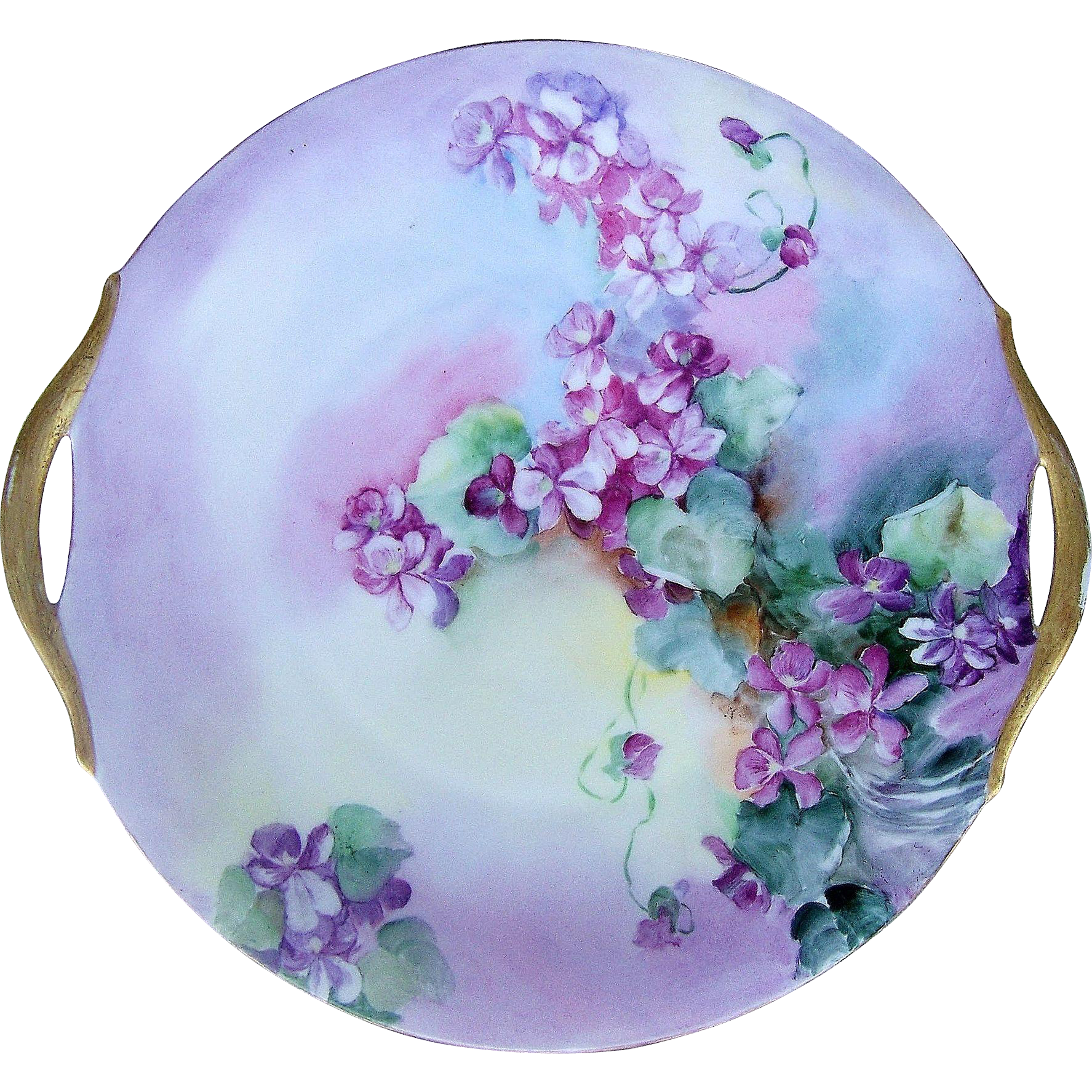 "Stunning Bavaria 1900's Hand Painted Shades of ""Purple Violets"" 10-1/2"" Floral Plate"