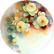 """Stunning J & C Bavaria 1900's Hand Painted """"Deep Yellow Roses"""" 8"""" Floral Plate by the Artist, """"N.S."""""""