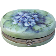 "Gorgeous Limoges 1900's Hand Painted ""Violets"" Trinket Casket Box by the Artist, ""Jean ParBone"" - Red Tag Sale Item"