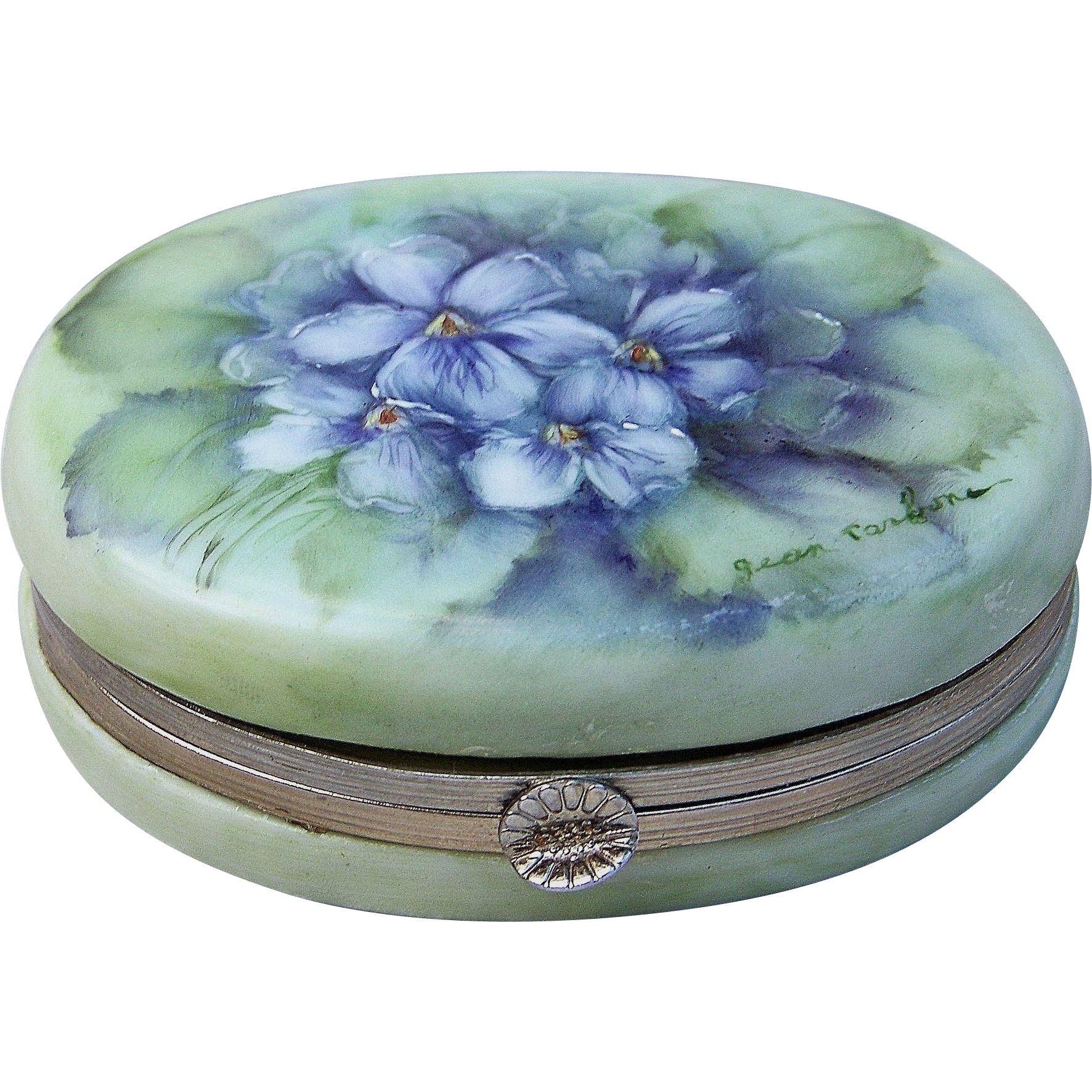 "Gorgeous Limoges 1900's Hand Painted ""Violets"" Trinket Casket Box by the Artist, ""Jean ParBone"""
