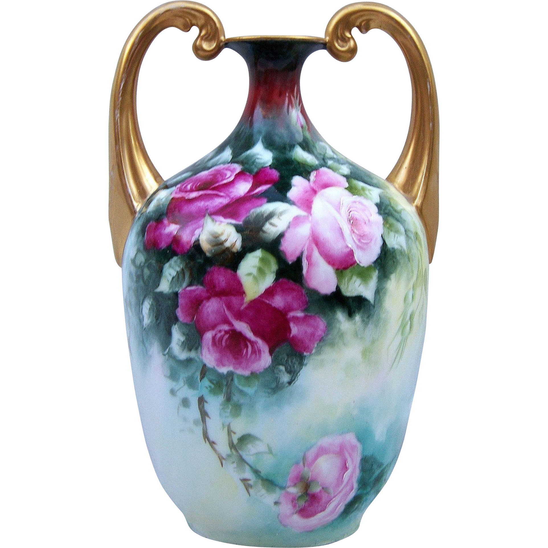 "Gorgeous Limoges France 1907 Hand Painted ""Red & Pink Roses"" 8"" Muscle Vase by the Artist, ""M. Pigan"""