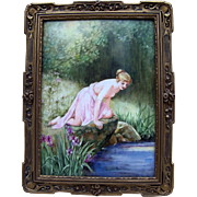 "Outstanding T & V Limoges France 1900's Hand Painted Greek Partial Nude ""Water Nymph"" 11-1/2"" x 9"" Scenic Plaque by the Artist, ""O'Brien"""