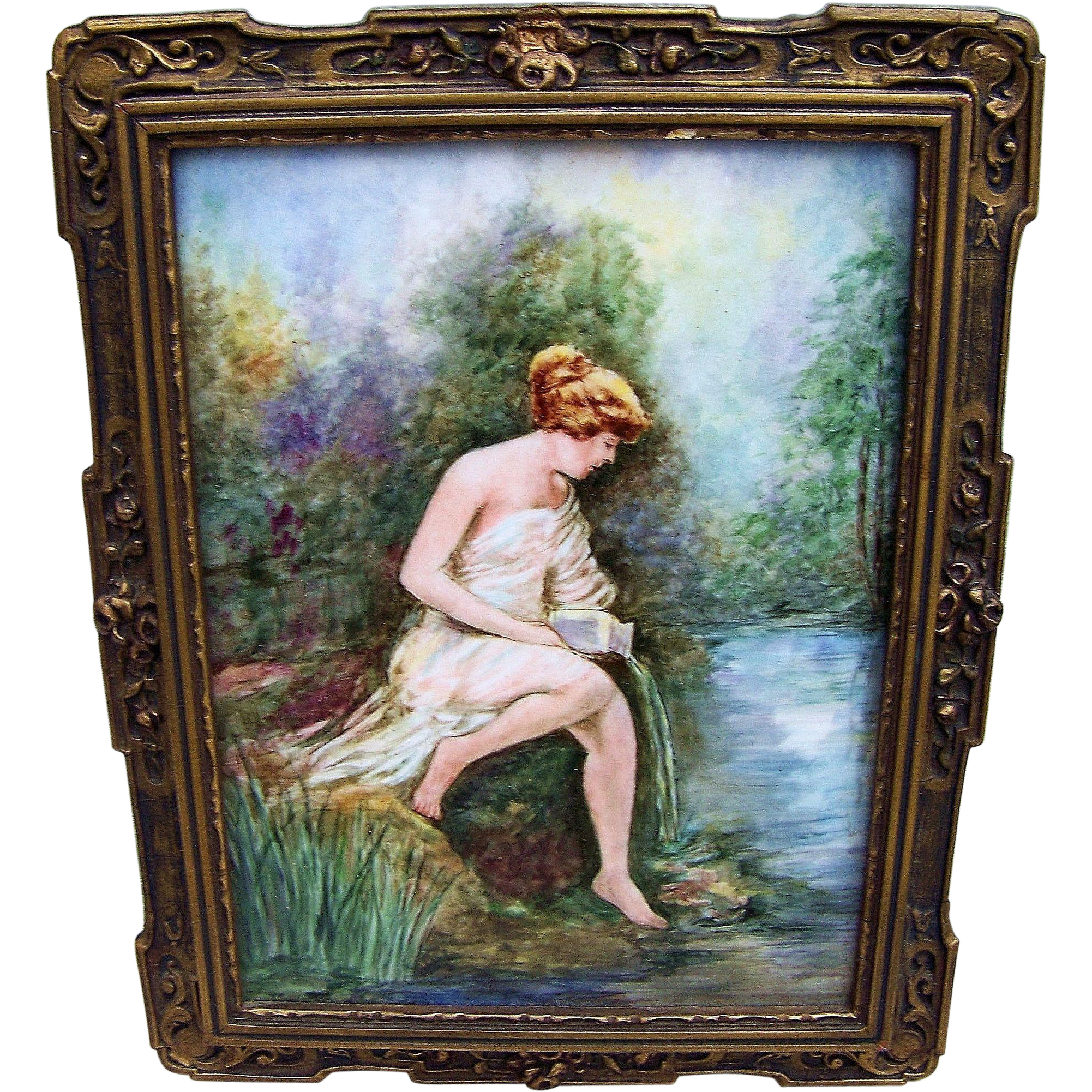 "Beautiful T & V Limoges France 1900's Hand Painted Partial Nude ""Bather"" 11-1/2"" x 9"" Scenic Plaque by the Artist, ""O'Brien"
