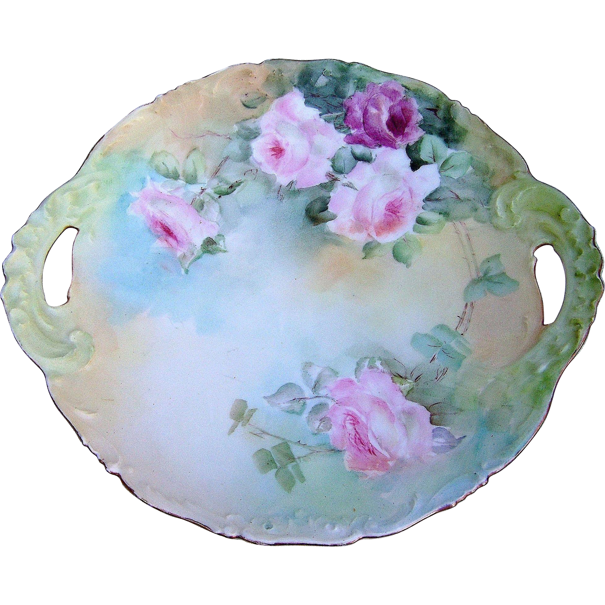 "Beautiful T & V Limoges France 1900's Hand Painted ""Red & Pink Roses"" 11-3/8"" Scallop Floral Plate"