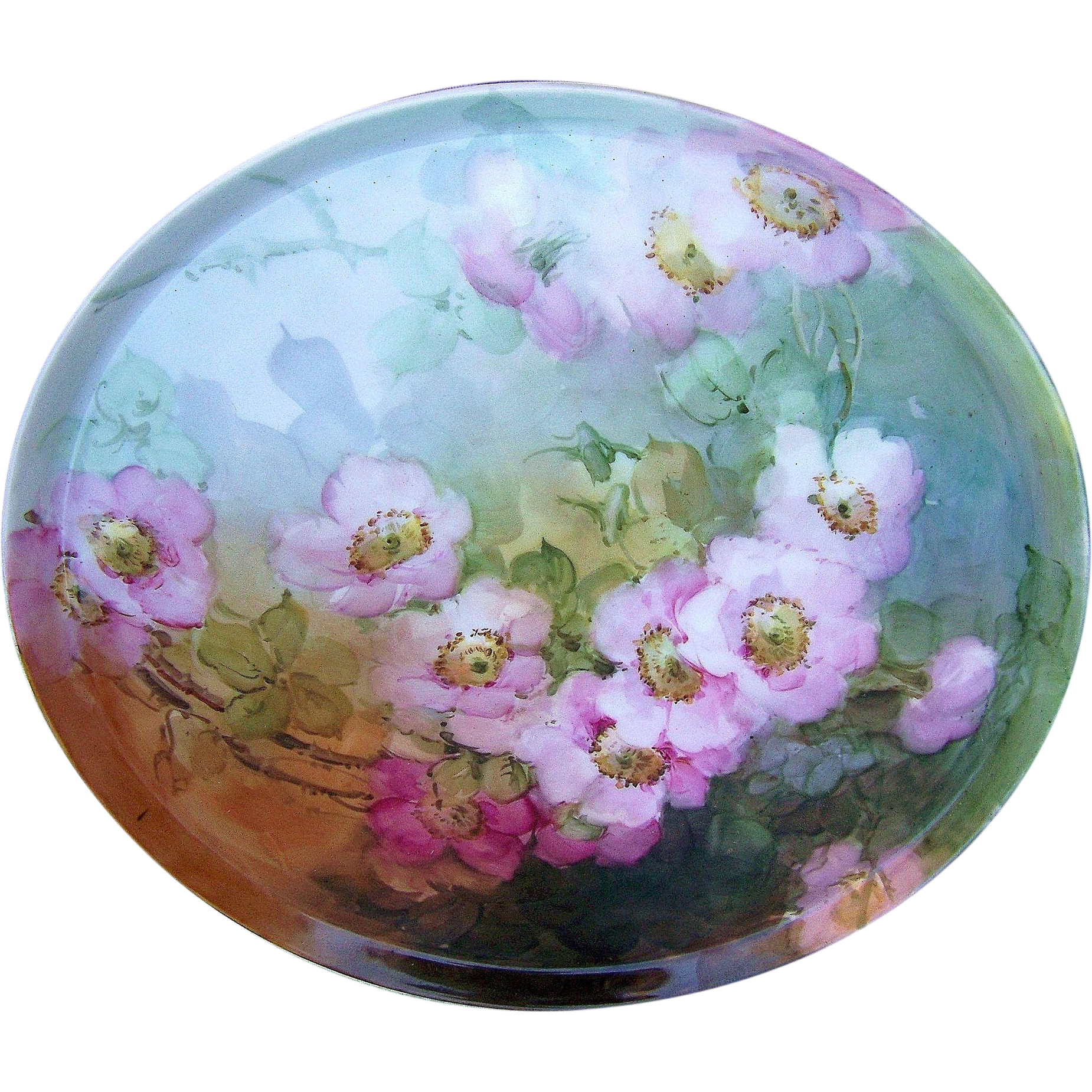 "Fabulous T & V Limoges France 1900's Hand Painted ""Wild Pink Roses"" 11-1/2"" Floral Tray"