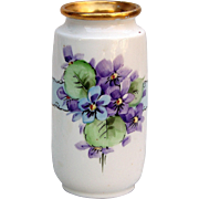 """Attractive Czechoslovakia 1920's Hand Painted """"Violets"""" Floral Vase"""