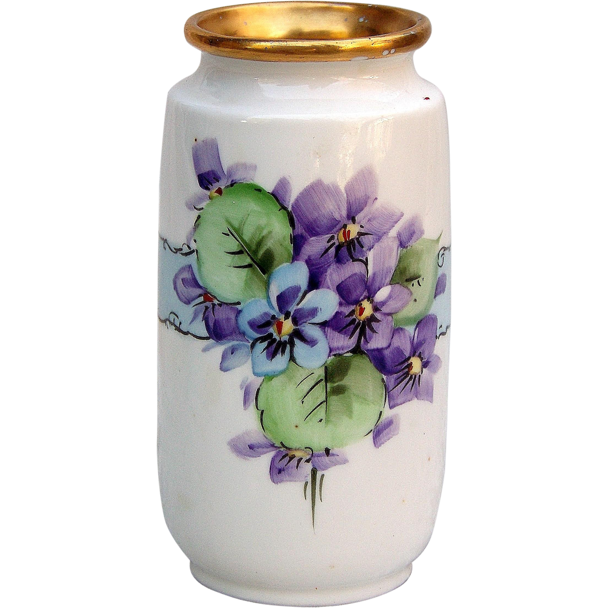 "Attractive Czechoslovakia 1920's Hand Painted ""Violets"" Floral Vase"
