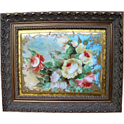 "Spectacular T & V Limoges France Vintage 1900's Hand Painted Vibrant ""Yellow & Peach Roses"" 14-1/4"" x 11-5/8"" Floral Plaque"