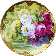 """Outstanding Theodore Haviland Limoges France 1900's Hand Painted """"Reflecting Red, White, & Yellow Roses"""" Rococo Plate by the Artist, """"Leoni's"""""""