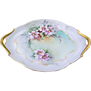 "Beautiful T & V Limoges France 1900's Hand Painted ""Wild Pink Roses"" 13-1/4"" Floral Tray by the Listed Artist, ""E.W. Bieg"" - Red Tag Sale Item"