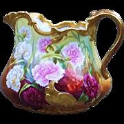 """Spectacular T & V Limoges France Vintage 1900's Hand Painted Vibrant """"Red, Pink, Burnt Orange, & White Carnations"""" 7-1/4"""" Floral Cider Pitcher by the French Artist, """"Regis"""""""