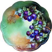 """Magnificent 13"""" D'Arcy's Studio & AK France 1900's Hand Painted """"Purple & Plum Colored Grapes"""" Scallop Fruit Charger by the Artist, """"Bennett"""""""