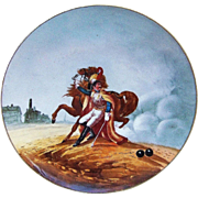 """Fabulous 14-1/4"""" France Pre-1900 Hand Painted Battle Scene of the """"Wounded Cuirassier"""" Charger Originally Painted by """"Theodore Gericault"""""""