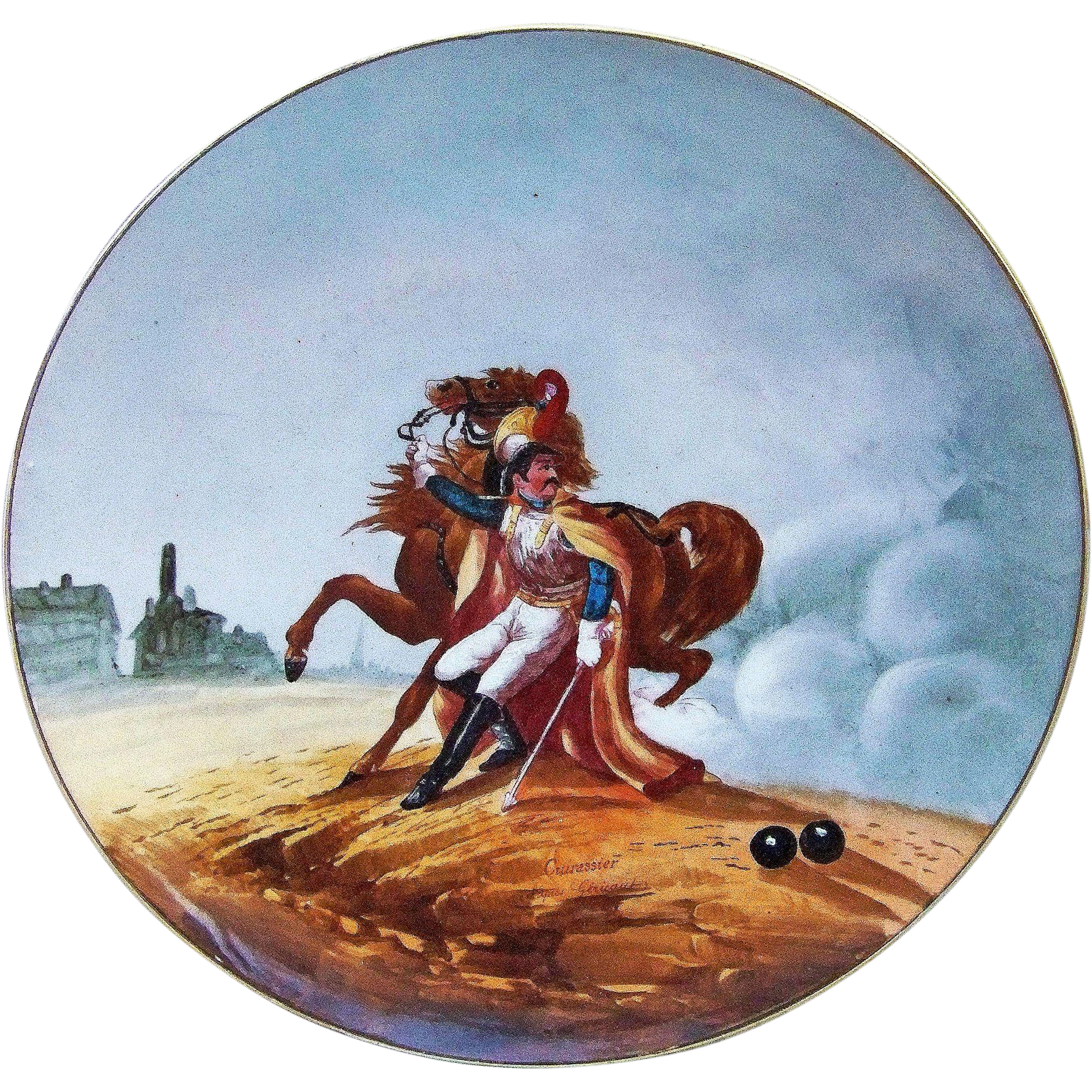 "Fabulous 14-1/4"" France Pre-1900 Hand Painted Battle Scene of the ""Wounded Cuirassier"" Charger Originally Painted by ""Theodore Gericault"""