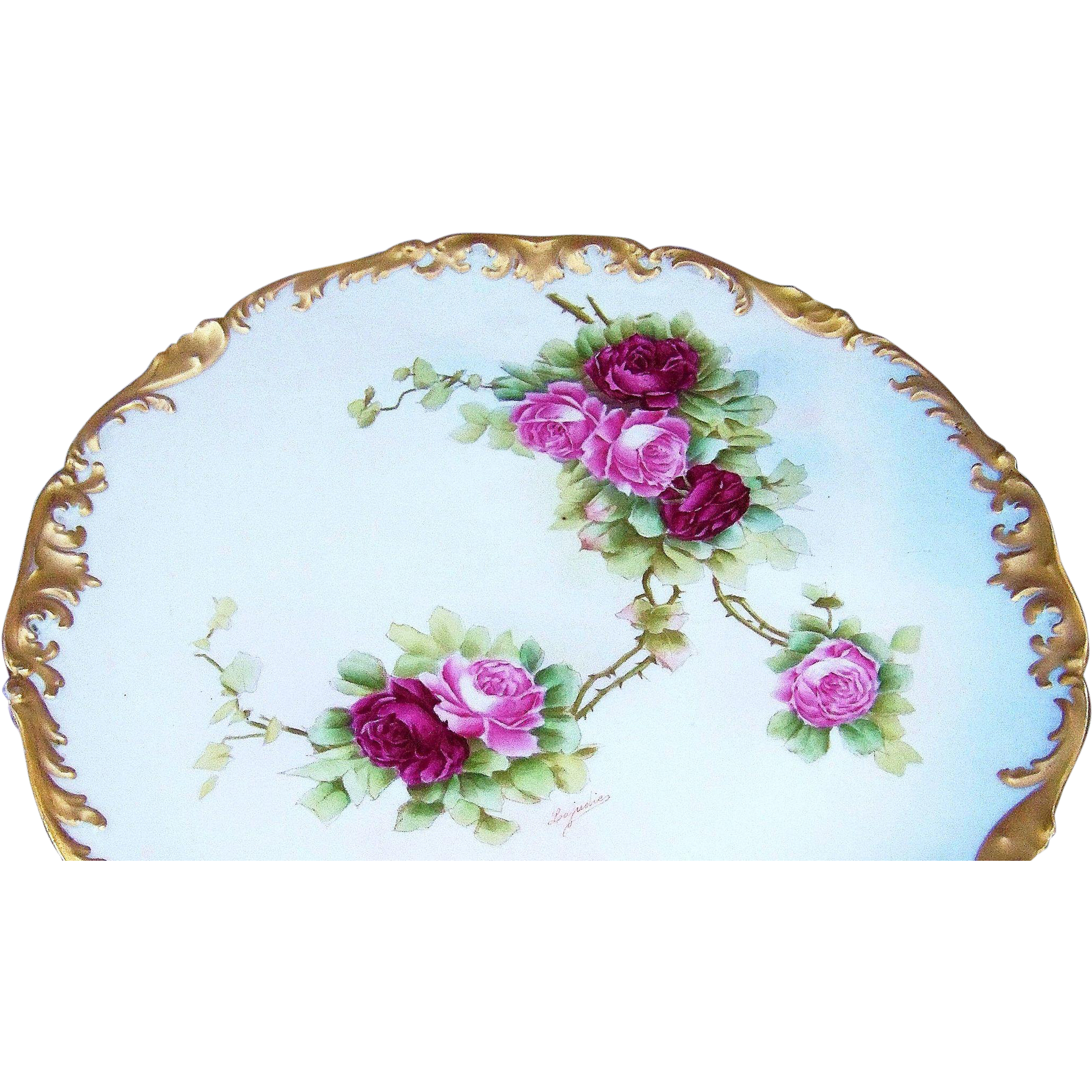 "Beautiful 12-3/4"" T & V Limoges France 1900's Hand Painted ""Red & Pink Roses"" Rococo Floral Charger by the Artist, ""Leajulie"""