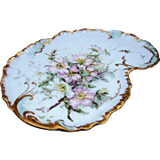"Beautiful William Guerin Limoges France 1900's Hand Painted ""Light Pink & White Poppy"" 12-7/8"" Floral Scallop Tray by Artist, ""J.S. Kernaghan"""