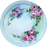 "Gorgeous Sevres Bavaria 1900's Hand Painted ""Pink Roses"" 9"" Floral Plate by the Artist, ""Suddard"""