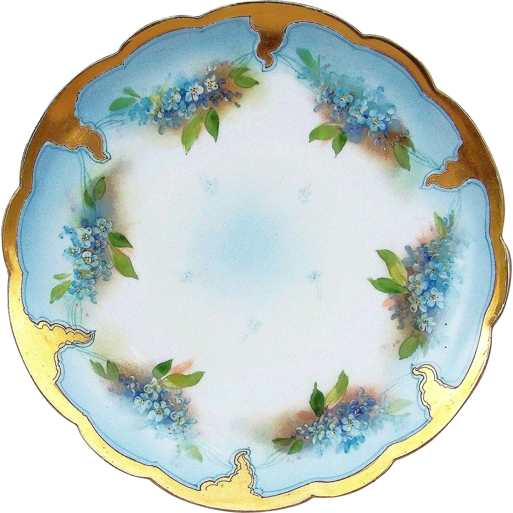 "Gorgeous Limoges France 1907 Hand Painted ""Forget Me Not"" 9-1/4"" Floral Plate by the Pickard Artist, ""Erhardt Seidel"""