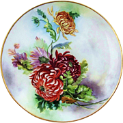 "Attractive Limoges France 1900's Hand Painted Vibrant & Deep ""Red, Pink, Orange, & Yellow Mums"" 8-1/2"" Floral Plate by Artist, ""A.L.F."""