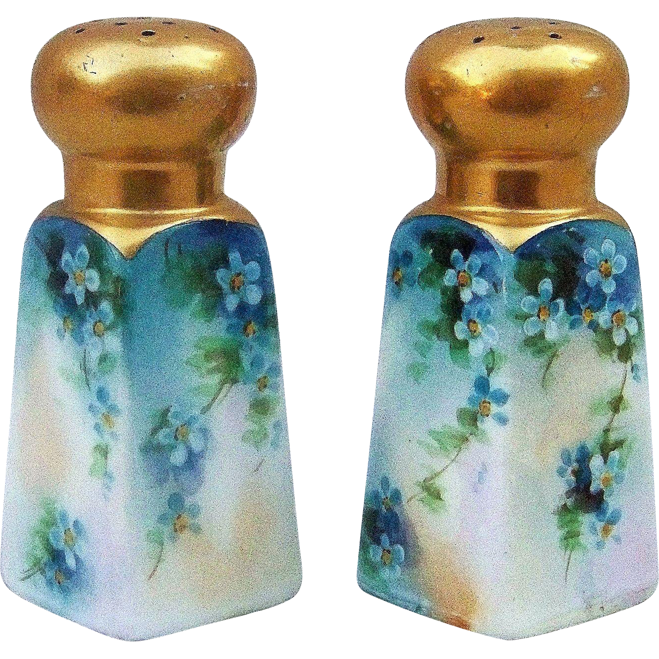 "Gorgeous Bavaria 1900's Hand Painted ""Blue-Green Violets"" Heavy Gilded Matched Shakers"