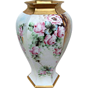 """Spectacular 15-1/4"""" B & Co. France Limoges 1900's Hand Painted """"Pink Roses"""" 6-Sided Heavy Gilded Gold Floral Vase"""