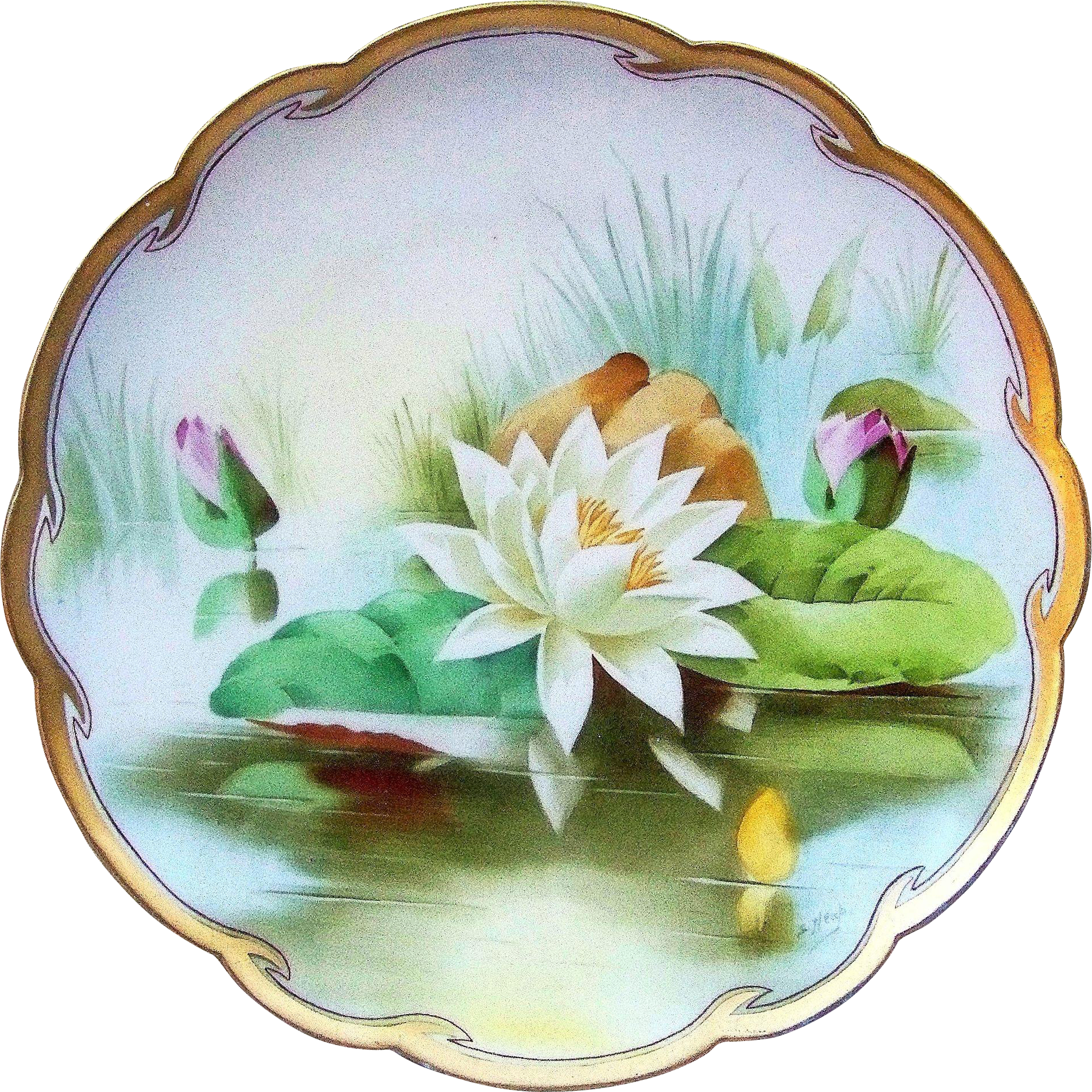 "12-1/2"" Gorgeous Limoges France & J.H.Stouffer Studio of Chicago 1906 Hand Painted ""Reflecting Water Lily"" Floral Charger by Listed Artist, ""Samuel Heap"""