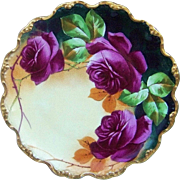"Fabulous LImoges France 1900's Hand Painted Vibrant ""Deep Red Rose"" Fancy Scallop Floral Plate by the Artist, ""Gilbert"""