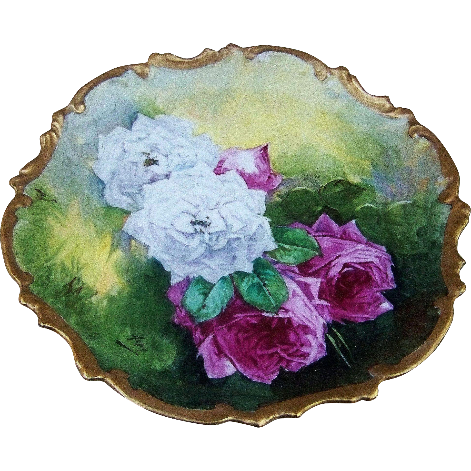 "Gorgeous Limoges France 1900's Hand Painted Vibrant ""Red & White Roses"" Rococo Style Floral Charger by the Artist, ""Aubin"""