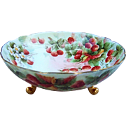 "Fabulous Vintage Bavaria 1900's Hand Painted ""Strawberry"" 9-1/2"" 3-Footed Fruit Bowl by the Artist, ""E. Thomas"""