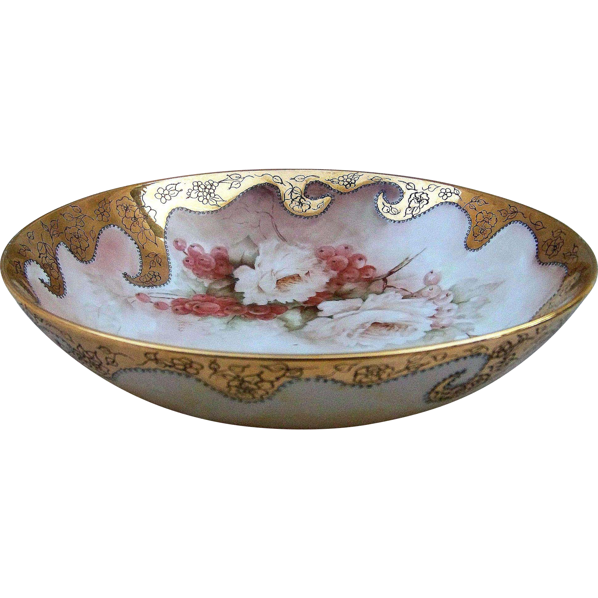"Beautiful Bavaria Hand Painted ""White Roses & Red Currant"" 10"" Floral & Fruit Bowl by the Artist, ""Hess""."