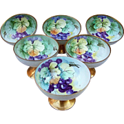 """Gorgeous O.& E.G. Royal Austria Set of Hand Painted """"Purple Grapes"""" Sherbets by the Pickard Artist, """"Schoner"""""""