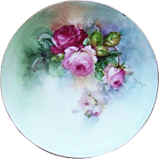 "Fabulous Omhe Germany Silesia & Buchanan Studios of Indianapolis 1900's Hand Painted ""Red & Pink"" Roses Floral Plate by the Artist, ""Bremim"""