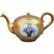 "Outstanding Osborne Studio of Chicago Early 1900's Hand Painted ""Basket of Roses"" Heavy Etched Gold Tea Pot by the Artist, Asbjorn ""Osborne"""