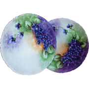"Beautiful Matched Pair of Rosenthal Bavaria 1900's Hand Painted ""Deep Purple Violets"" 8-1/4"" Floral Plates by the Artist, ""I.A. Long"""