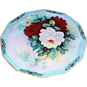 """Spectacular Rosenthal Germany 1900's Hand Painted """"Xmas Holly & Roses"""" 10-1/4"""" 12 Sided Plate by the Artist, """"D. Erickson"""""""