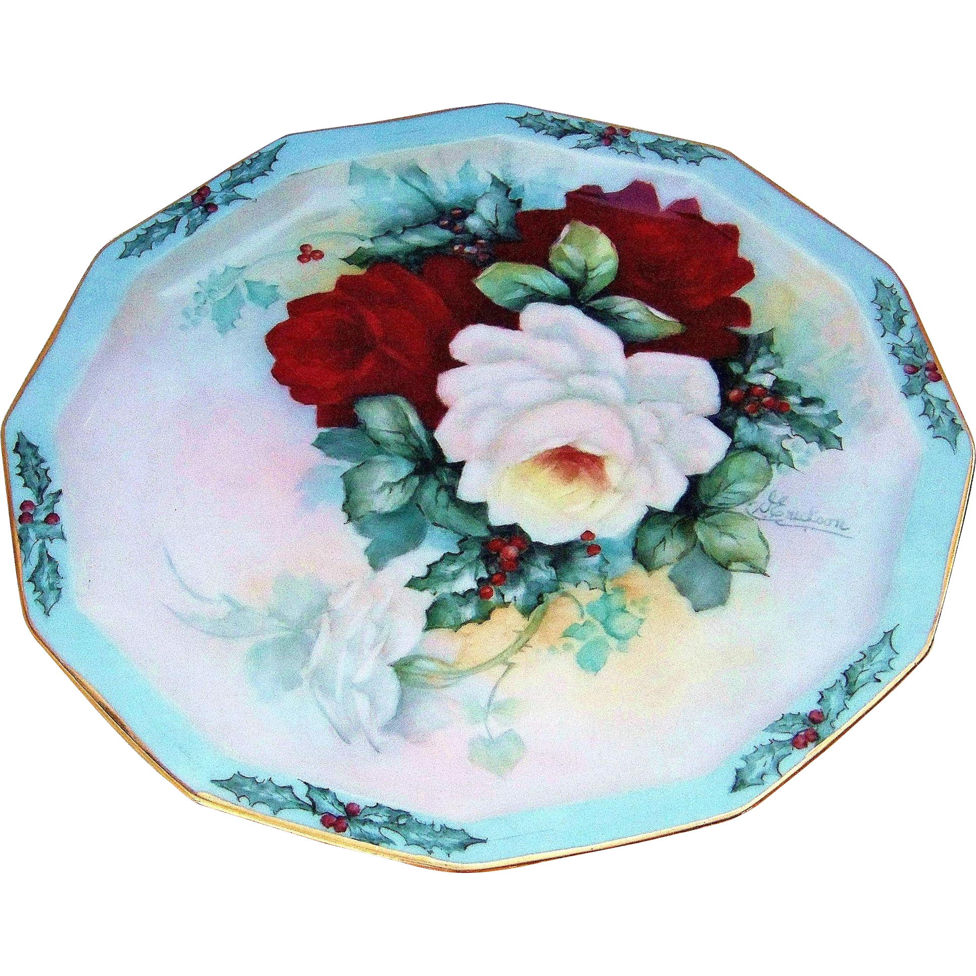 "Spectacular Rosenthal Germany 1900's Hand Painted ""Xmas Holly & Roses"" 10-1/4"" 12 Sided Plate by the Artist, ""D. Erickson"""
