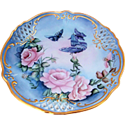 """Beautiful Bavaria 1900's Hand Painted """"Pink Roses & Butterflies"""" 10-1/4"""" Lattice Style Plate by the Artist, """"Pauline Reinhart"""""""