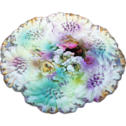 "Fabulous RS Prussia 1900's ""Lavender, Yellow, & White Pansy"" 11-1/4"" Crimp Sunflower Mold Floral Plate"