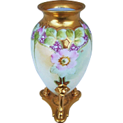 "Gorgeous MR France & Whites Art Co. 1914 Hand Painted ""Pink Poppy"" 7-1/2"" 3-Legged Floral Vase by the Artist, ""P.C."""