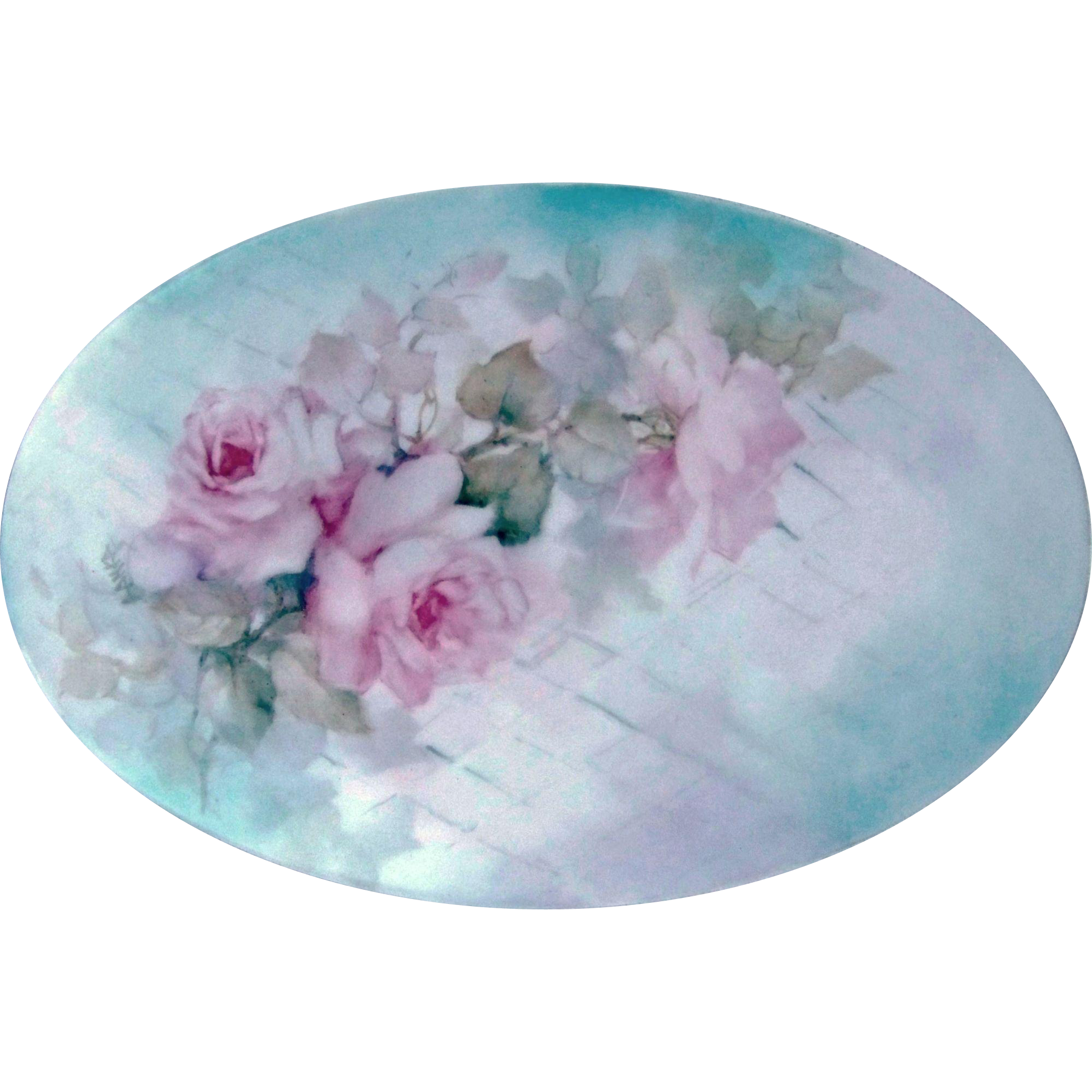"Exquisite Bavaria 1900's Hand Painted ""Pink Roses"" 9-1/4"" Floral Plaque by the Artist, ""A. Anka"""